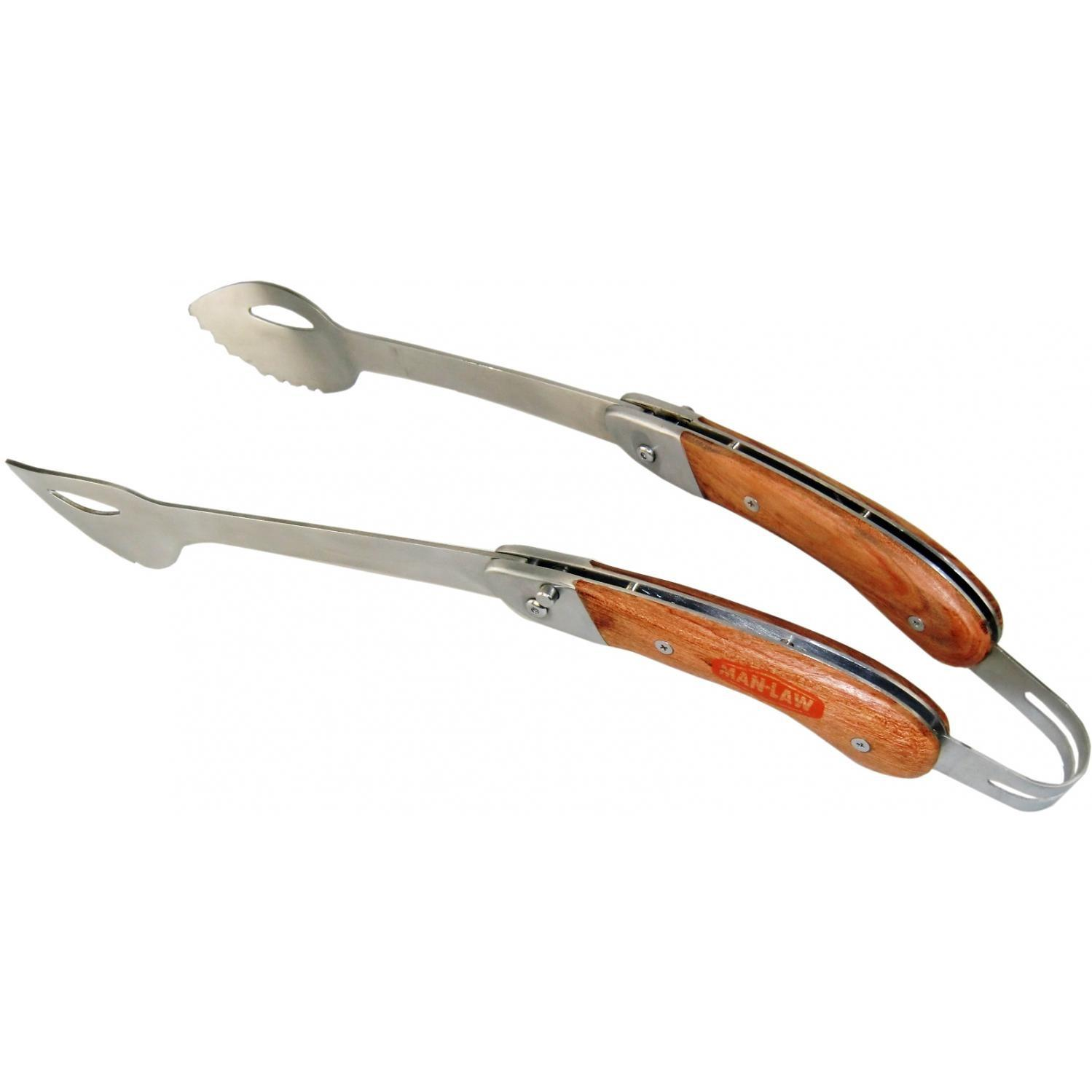 Man Law 17 Inch Stainless Steel Foldable Bbq Tongs With